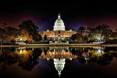 Us Capitol Building And Reflecting Pool At Fall Night 1 Print by Val Black Russian Tourchin