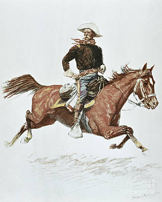 Stallion Drawing - Us Cavalry Officer In Campaign Dress Of The 1870s by Frederic Remington