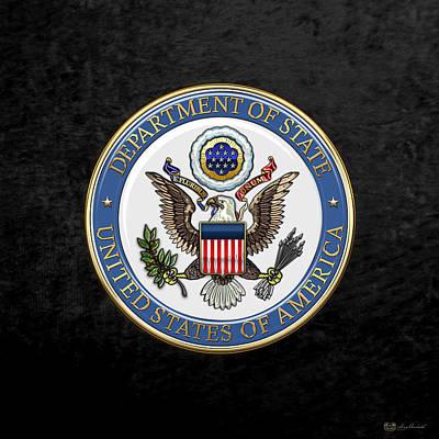 U. S. Department Of State - Dos Emblem Over Black Velvet Original by Serge Averbukh