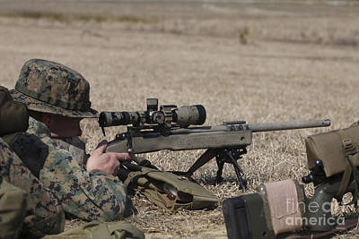 Camouflage Clothing Photograph - U.s. Marine Fires His M40a3 7.62mm by Stocktrek Images