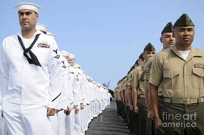 U.s. Marines And Sailors Stand Print by Stocktrek Images