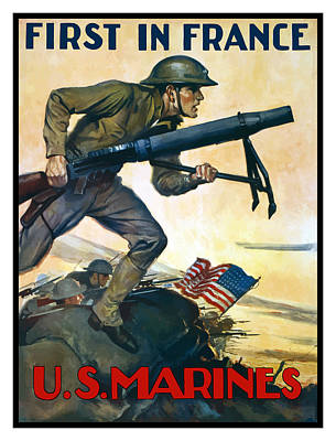 Us Marines - First In France Print by War Is Hell Store
