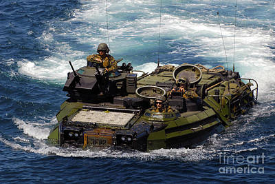 Armored Fighting Vehicles Photograph - U.s. Marines Transit The Open Water by Stocktrek Images