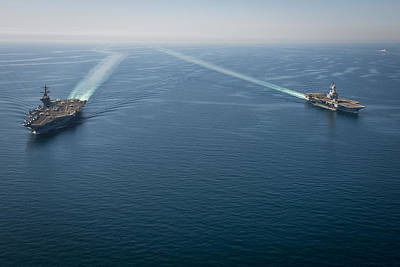 Carrier Painting - Us Navy Aircraft Carriers by Celestial Images