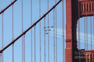 Frisco Pier Photograph - Us Navy Blue Angels Beyond The San Francisco Golden Gate Bridge - 5d18956 by Wingsdomain Art and Photography