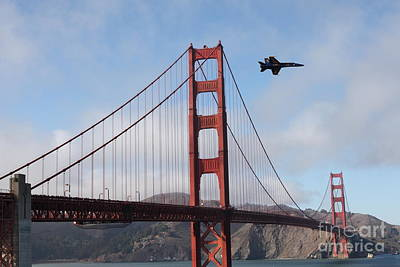 Frisco Pier Photograph - Us Navy Blue Angels Crossing The San Francisco Golden Gate Bridge - 5d18926 by Wingsdomain Art and Photography