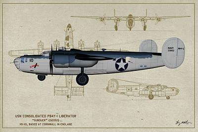 Digital Art - Us Navy Pb4y Privatieer Profile by Tommy Anderson