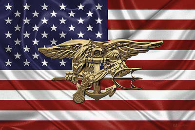 U.s. Navy Seals Trident Over U.s. Flag Print by Serge Averbukh
