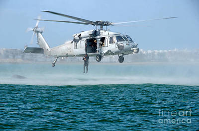 Helicopter Painting - U.s. Navy Sh-60s Sea Hawk Helicopter by Celestial Images