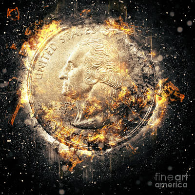 Burning Money Photograph - Us One Quarter Dollar Coin by Humorous Quotes