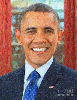 Obama Painting - U.s. President Barack Obama by Celestial Images