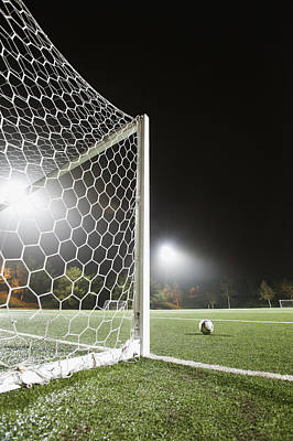 Usa, California, Ladera Ranch, Football In Front Of Goal Print by Erik Isakson