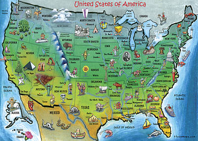 Usa Cartoon Map Print by Kevin Middleton