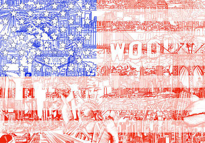 4th July Painting - Usa Flag 1 by Bekim Art