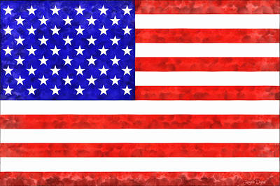 Sign Painting - Usa Flag  - Acrylic Style -  - Pa by Leonardo Digenio