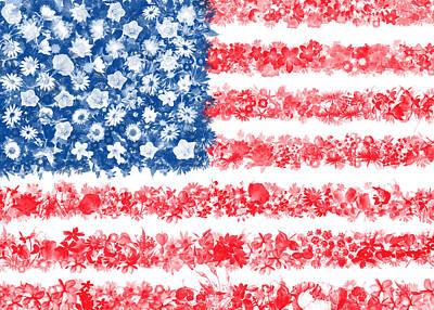 July 4 Digital Art - Usa Flag Floral by Bekim Art