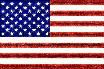 Usa Flag  - Free Style -  - Pa Print by Leonardo Digenio