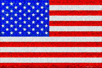 Freedom Painting - Usa Flag  - Palette Knife Style -  - Pa by Leonardo Digenio