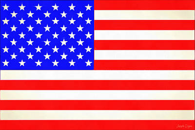 4th Painting - Usa Flag  - Vivid Free Style -  - Pa by Leonardo Digenio