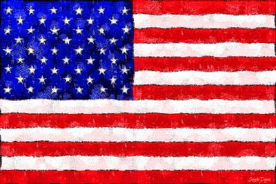 Usa Flag  - Wax Style -  - Pa Print by Leonardo Digenio