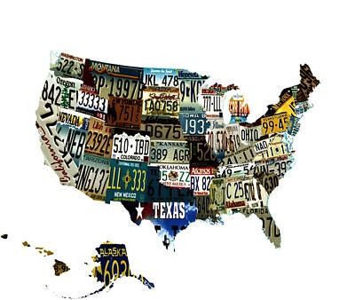 Usa License Tag Map Print by Brian Reaves