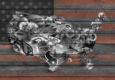 Usa Nfl Map Collage 4 Print by Bekim Art