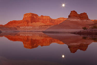 Usa, Utah, Glen Canyon National Recreation Area, Face Canyon, Lake Powell, Reflection Of Cliffs In The Lake Print by Don Paulson Photography