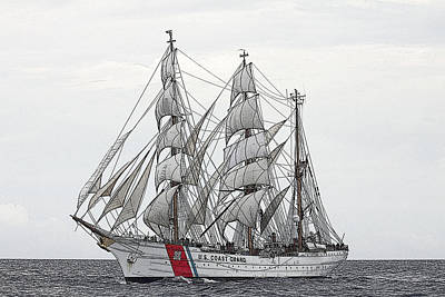 Uscg Barque Eagle Print by Max Mudie