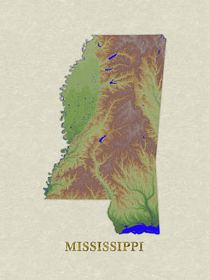Mississippi State Map Digital Art - Usgs Map Of Mississippi by Elaine Plesser