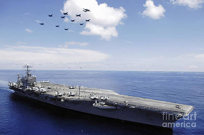 Perform Photograph - Uss Abraham Lincoln And Aircraft by Stocktrek Images
