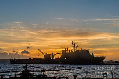 Liberty Painting - Uss Germantown At Sunset. by Celestial Images
