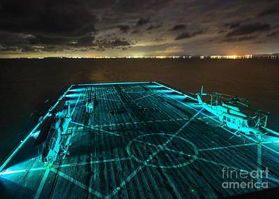 Navy Painting - Uss Green Bay  In Blue by Celestial Images