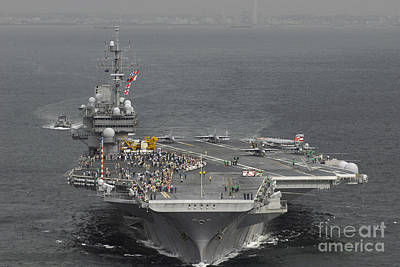 On The Runway Photograph - Uss Kitty Hawk by Stocktrek Images