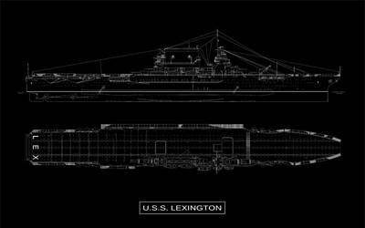 Black Top Digital Art - Uss Lexington by DB Artist