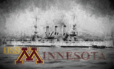 University Of Minnesota Digital Art - Uss Minnesota by JC Findley