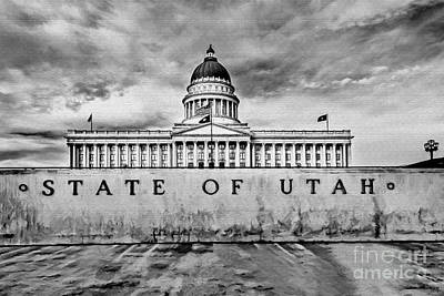 Capitol Building Mixed Media - Utah Capitol Black And White by David Millenheft