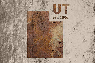 Utah State Map Industrial Rusted Metal On Cement Wall With Founding Date Series 048 Print by Design Turnpike