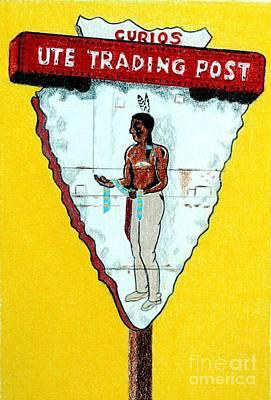 Southwest Drawing - Ute Trading Post by Glenda Zuckerman