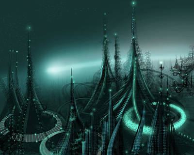 Luminescent Digital Art - Utopia by James Christopher Hill