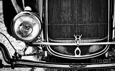 Ford Street Rod Photograph - V8 Monochrome by Tim Gainey
