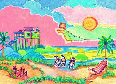 Penquins Painting - Vacation In The Sun by Connie Valasco