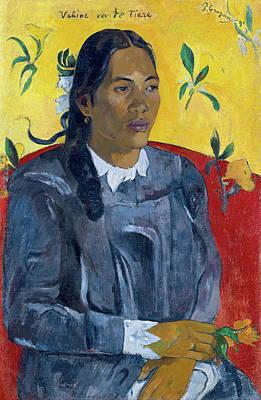 Woman Painting - Vahine No Te Tiare Aka, Tahitian Woman With A Flower by Paul Gauguin