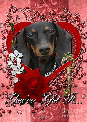 Doxies Digital Art - Valentines - Key To My Heart Dachshund by Renae Laughner
