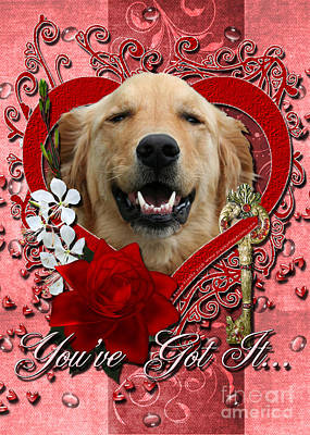 Retrievers Digital Art - Valentines - Key To My Heart Golden Retriever by Renae Laughner