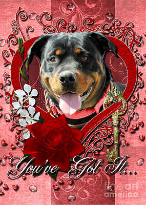 Breed Digital Art - Valentines - Key To My Heart Rottweiler by Renae Laughner