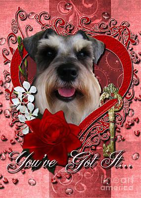 Valentines - Key To My Heart Schnauzer Print by Renae Laughner