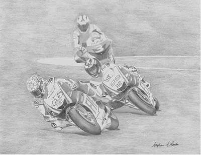 Valentino Rossi Art Drawing - Valentino Rossi Motorcycle Art Print      by Stephen Rooks