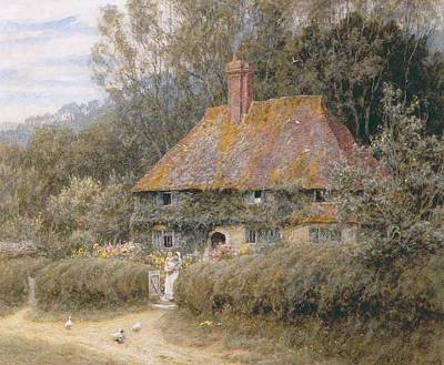 Mother Goose Painting - Valewood Farm Under Blackwood Surrey  by Helen Allingham