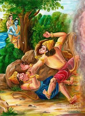 'vali Sugriva Yudham' Print by Murali Surya