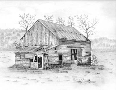 Old Barn Drawing - Van Etten Farm by Kerry Facey